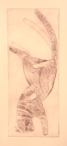 cat landing on its feet   drypoint